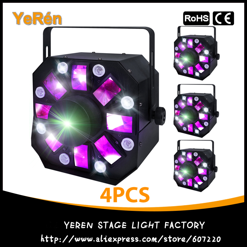 (4PCS) 3in1 Colorful Laser Strobe Moonflower RG Moving Laser Effect DJ Light 8 White LEDs ADJ Stage Light бесплатная доставка diy электронные tps54331drg4 ic reg бак adj 3а 8 soic 54331 tps54331 3 шт
