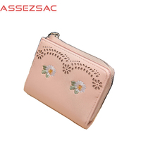 Assez Sac Fashion Mini Solid PU Leather Embroidery Women Wallet Lady Hollow Out Tassel Casual Concise