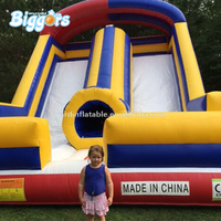 Outdoor commercial hot selling Inflatable double lane dry slide with blowers