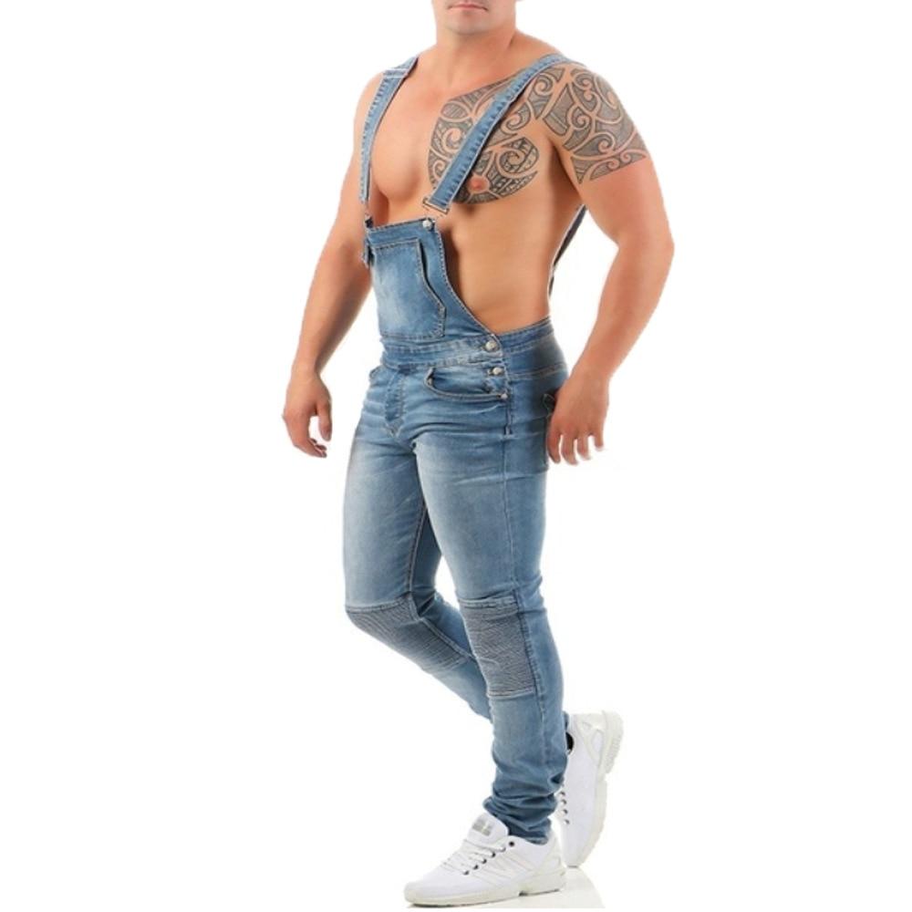 Helisopus Men Ripped Jeans Jumpsuits Street Distressed Denim Bib Overalls Suspender Pants