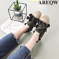 Women S Shoes Europe And The United States 2017 Summer New Fashion Suede Lazy Shoes Grass