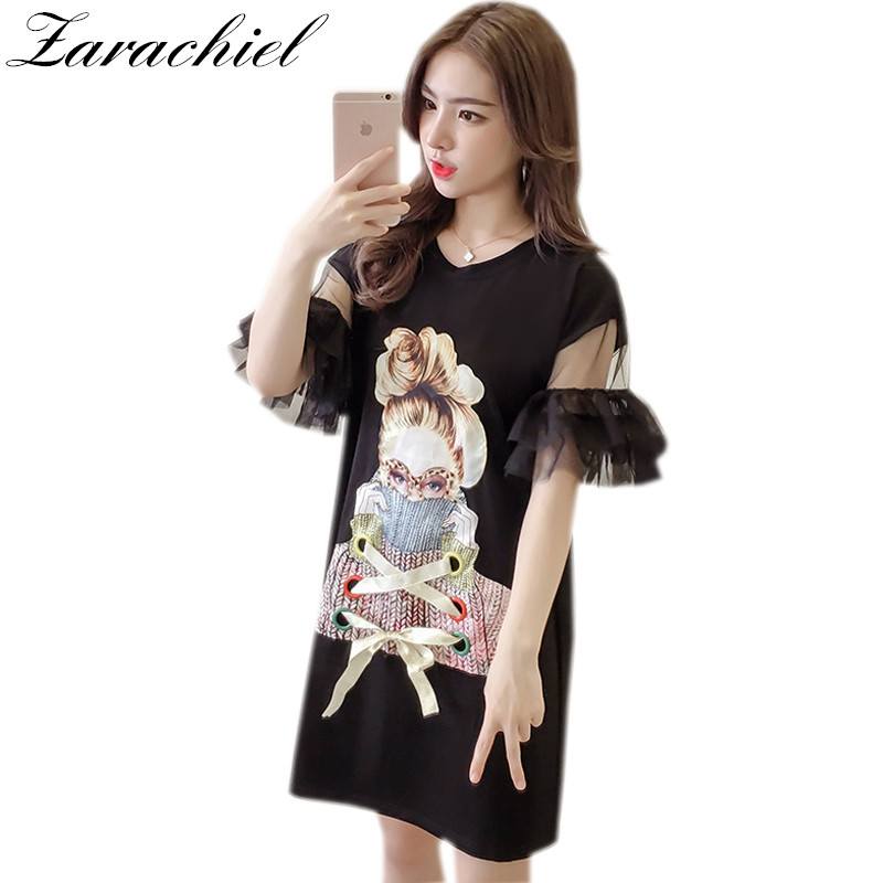 Us 1349 25 Offfashion 2019 Summer Long T Shirt Loose Korean Print Butterfly Sleeve Stitch Mesh Hollow Out Lace Up Tops Woman Cotton T Shirt In