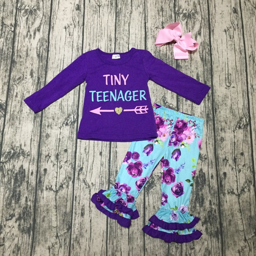 baby Girls Fall clothes girls children tiny teenager print top with purple pants outfits kids purple top outfits with bows girls slogan print tee with striped pants