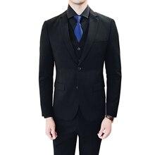Тонкий дизайн мужское платье комплект из 3 предметов черный и серый мужской костюм куртка с брюками и жилет Азиатский размер Блейзер
