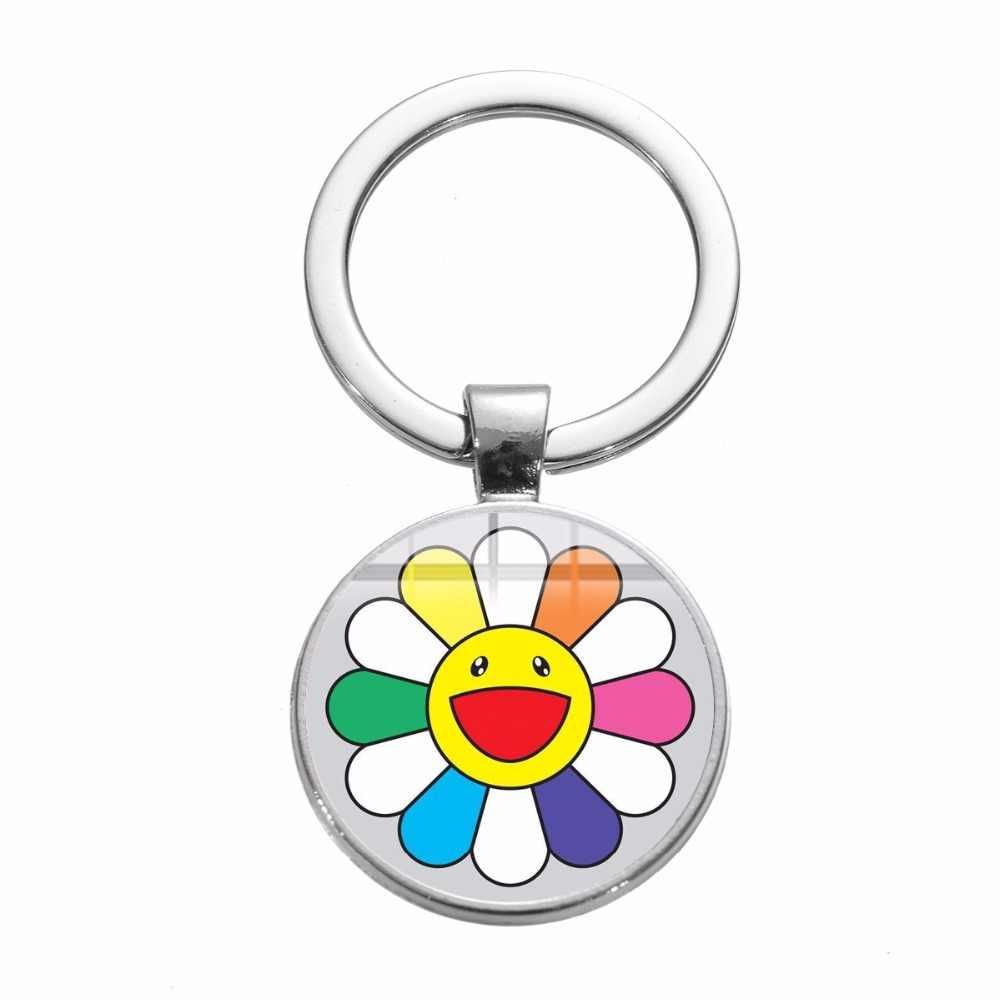 SONGDA novedad pareja llavero Original japonés Takashi Murakami siete colores girasol inspiración aleación llavero Joyería Moderna