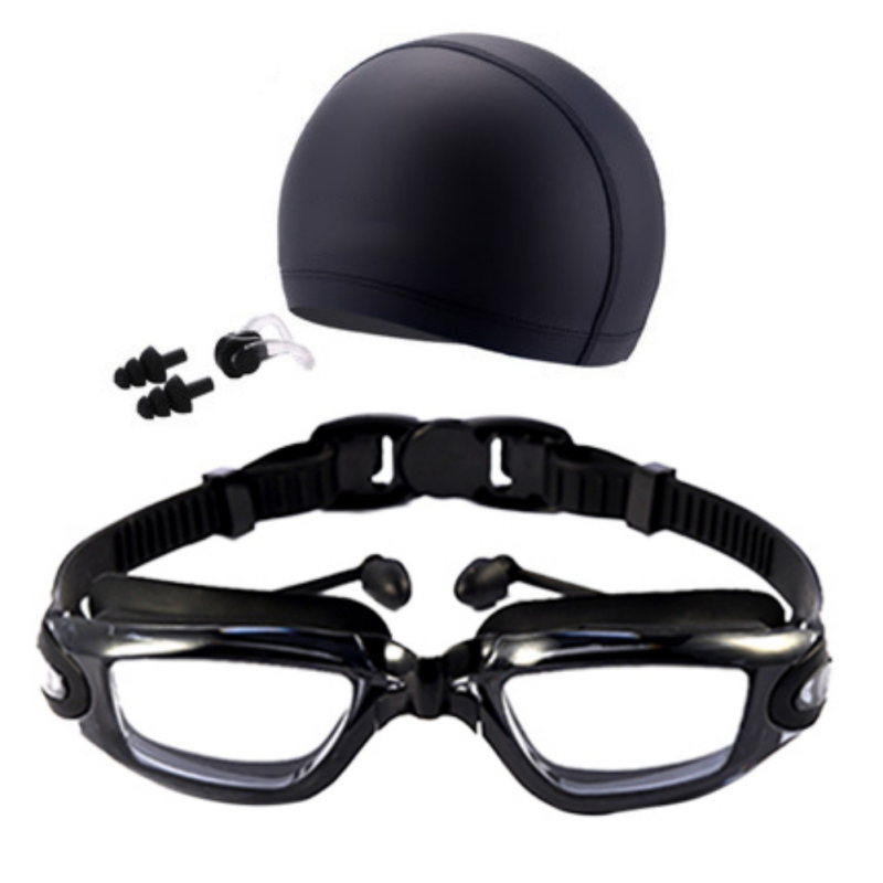 Humble 2018 New Swim Three Sets Of High-definition Waterproof And Anti-fog Swimming Glasses + Swimming Cap + Earplugs Nose Clip Suit Soft And Antislippery