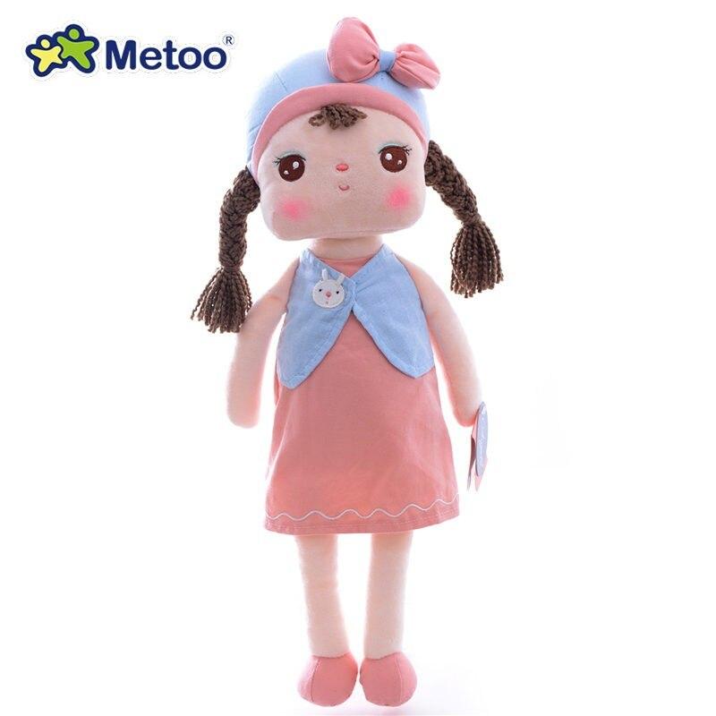 1PCS Original METOO Toys Angela Girl Pink line Summer Skirt Dress Soft Stuffed Plush Dolls Toys Gifts 16