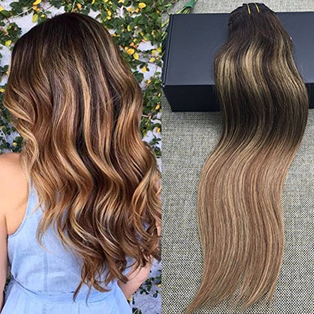 Full Shine 9 Pcs Ombre Human Hair Extensions Color 3 Fading To