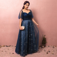 Plus Size Navy Blue V neck Lace Vestido De Festa Pleats Star Beading Formal Long Evening Dresses With Sleeve Prom Party Gowns