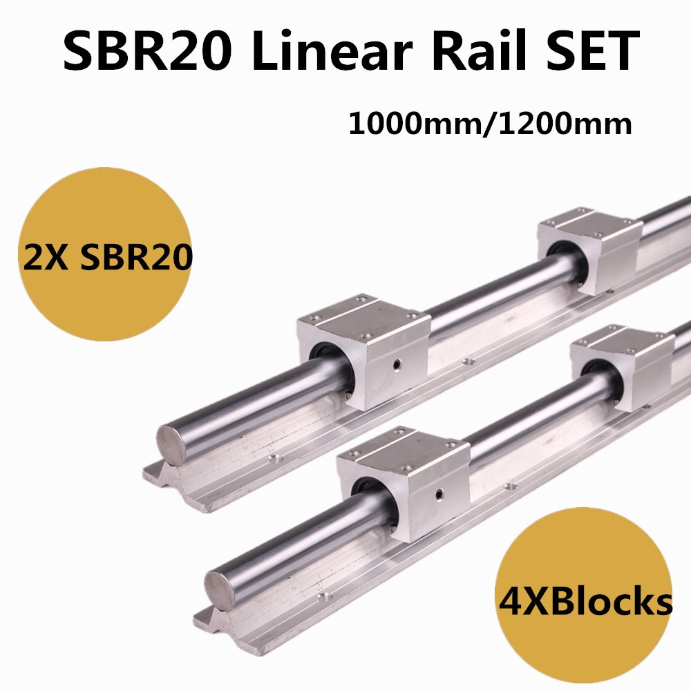 2pcs SBR20 1000mm / 1200mm Linear Guide Rail and 4pcs SBR20UU Linear Bearing Blocks for CNC parts 20mm Linear Rail