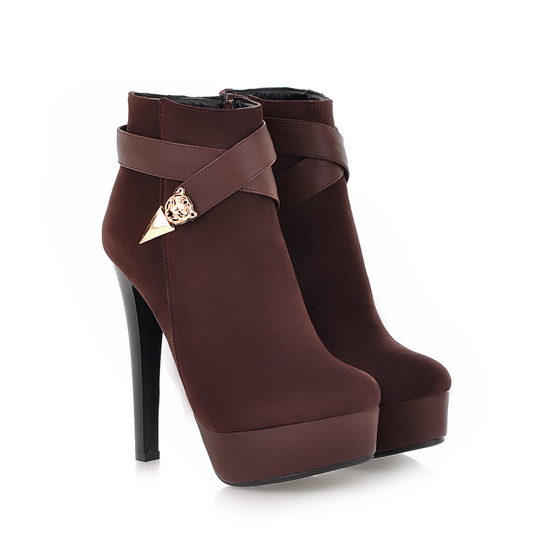 Sales Winter Sale Sexy Black Brown Ankle Boots for Women Ladies Nude Shoes Super Thin High Heels AQ510B Plus Big Size 4 10 43 brand new hot sales women nude ankle boots red black buckle ladies riding spike shoes high heels emb08 plus big size 32 45 11