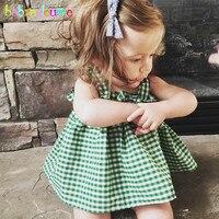 Babzapleume Summer Baby Girls Boutique Outfits Kids Clothes Plaid Cute T Shirt Shorts Korean Children Clothing