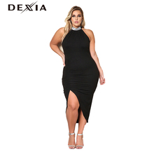 d5427c9a911 DEXIA Sexy Draped Hatler Plus Size Dress Women Solid Black O Neck  Sleeveless Summer Party Dresses 2017 Fashion Vestido LSD170004