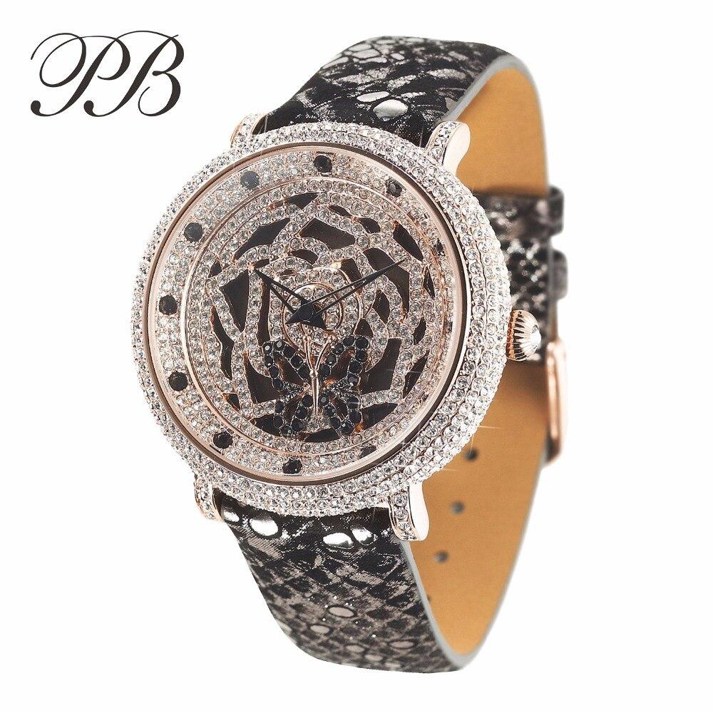Butterfly Flower Swarovski Luxury Watch Women ladies Fashion Quartz WatchesHL566PC часы quartz swarovski