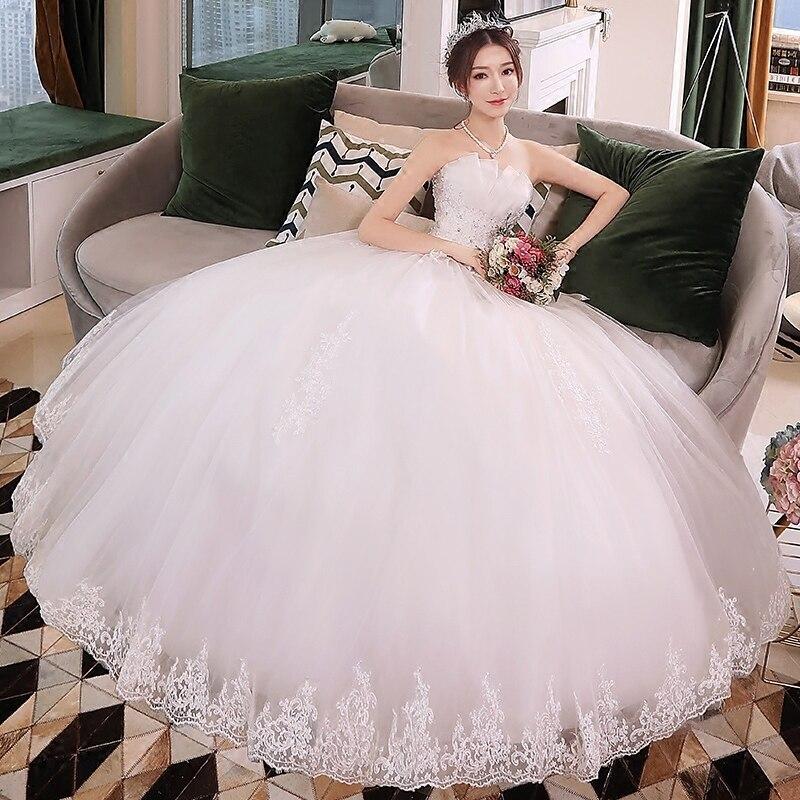 Robe de mariée Vestido de noiva dentelle brodé perles Vintage doux bretelles fil bouffée robe de mariée bretelles robes de mariée