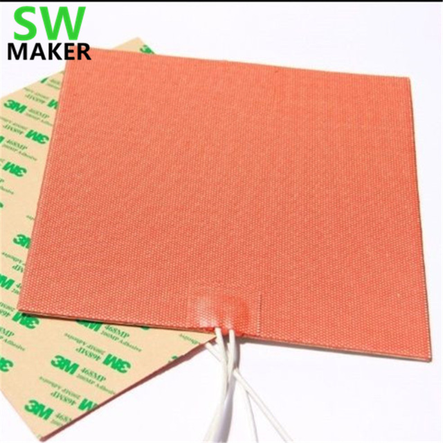 1pcs 330x330mm 120V 220V 750W Flexible Silicone Heater Pad Heated Bed Build Plate for Tronxy X5S