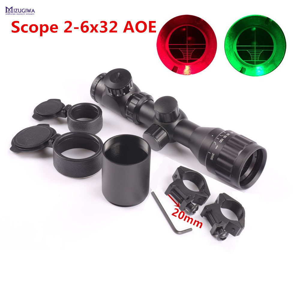 Tactical Reflex 2-6x32 AOEG Red Green Mil-dot Short Adjustable Sight Rifle Scope with Picatinny Rail Mount 20mm Scope Sunshade mini compact tactical red dot laser bore sight scope with 20mm picatinny rail mount
