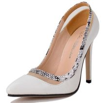 Size 4~9 Hot Sale Serpentine Women Shoes Autumn Elegant White OL High Heels Shoes Pumps zapatos mujer (Chenk Foot Length)