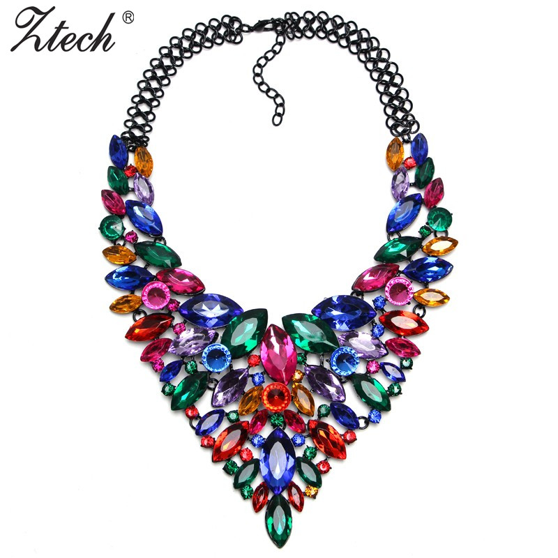 Hot Sale Colorful Crystal Luxury Bridal V Shaped Rhinestone Wedding Maxi Statement Necklaces Pendants Jewelry For