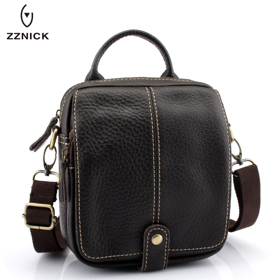 ZZNICK 2017 New Fashion 100% Cowhide Genuine Leather Men Bag Crossbody Shoulder Bag Small Travel Bags Designer Men Messenger bag zznick 2017 genuine leather bag men crossbody bags fashion men s messenger leather shoulder bags handbags small travel male bag