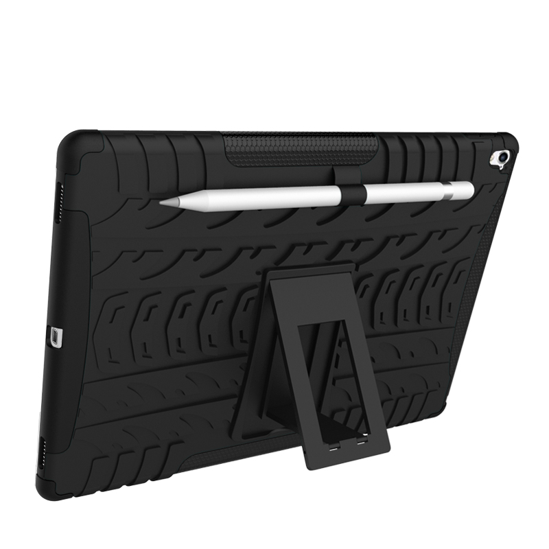 HOT SELL Case For iPad Pro 9.7 case shockproof hybrid with Stand balance function Cover Rugged Rubber Armor PC+T Black Alabasta