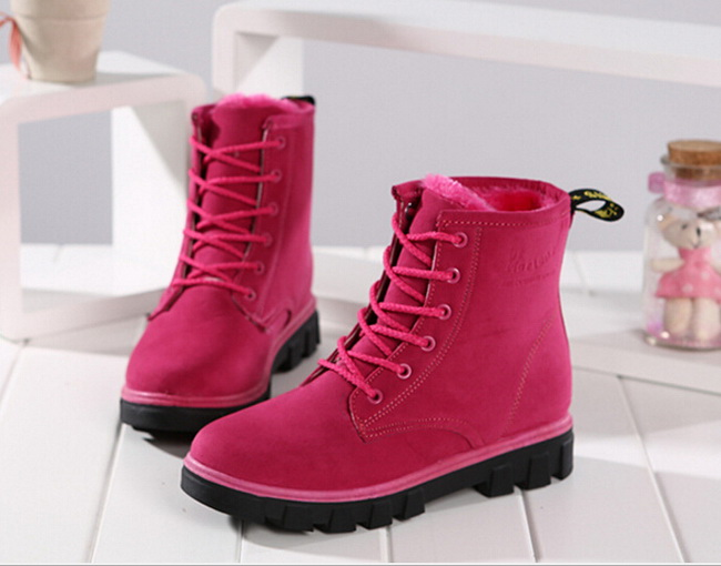 2016 women winter boots women winter shoes flat heel ankle purple boots casual cute warm shoes fashion snow boots womens boots