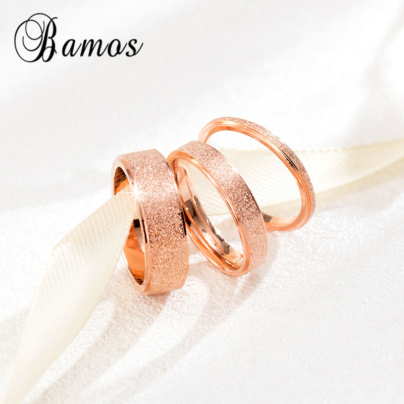 fashion female girls geometric ring rose gold stainless steel ring promise wedding engagement rings for women - Rose Gold Wedding Rings For Women