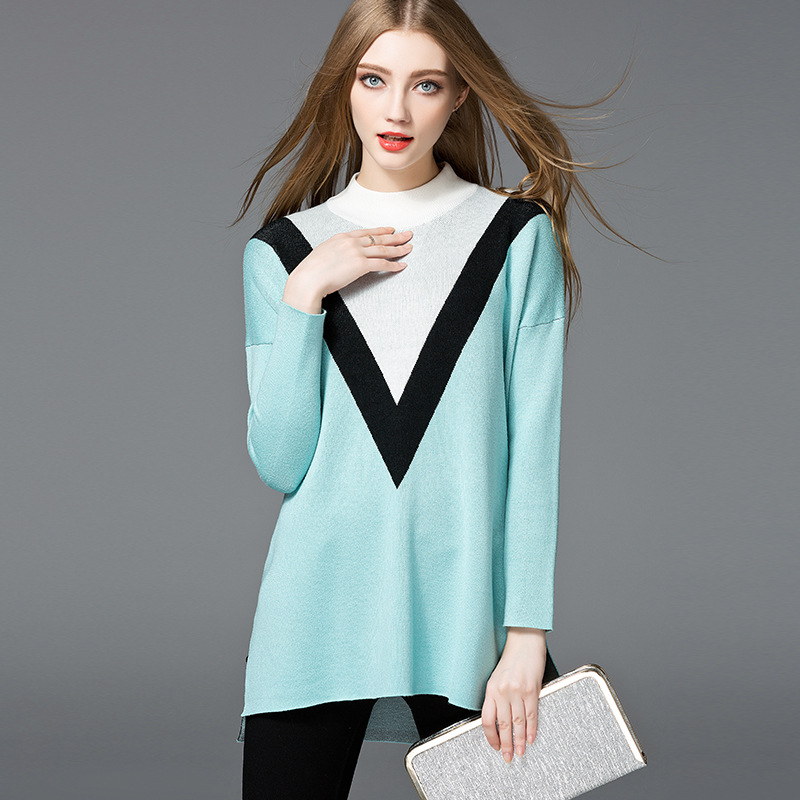 2017 autumn sweater Europe station womens wear long sleeves geometric design loose set of head knitted tunic