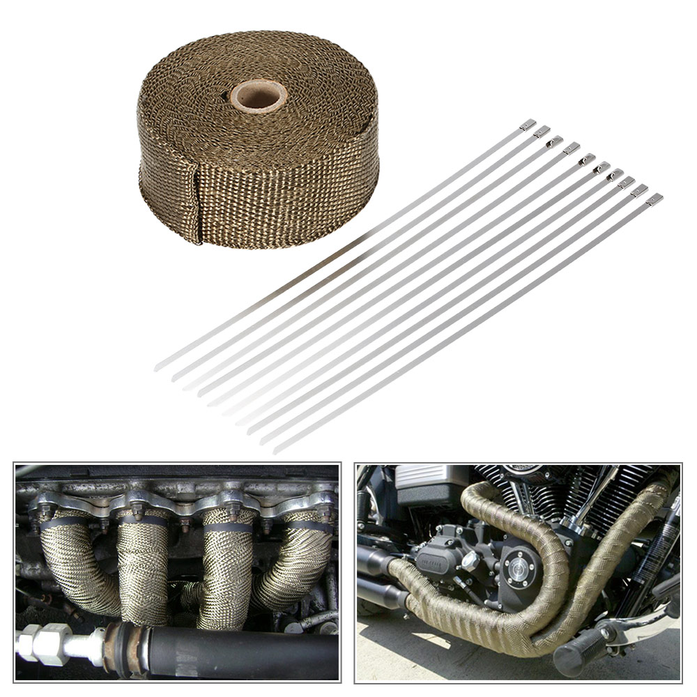 15m Heat Wrap Exhaust Manifold Downpipe 10 30cm Cable Ties for Car Motorcycle