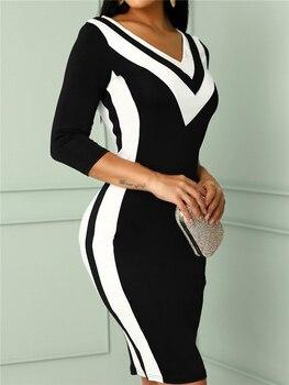 цена на Summer Women Elegant Work Wear Slim Fit V-Neck Colorblock Mini Casual Dress Contrast Color Striped Tape Bodycon Dress