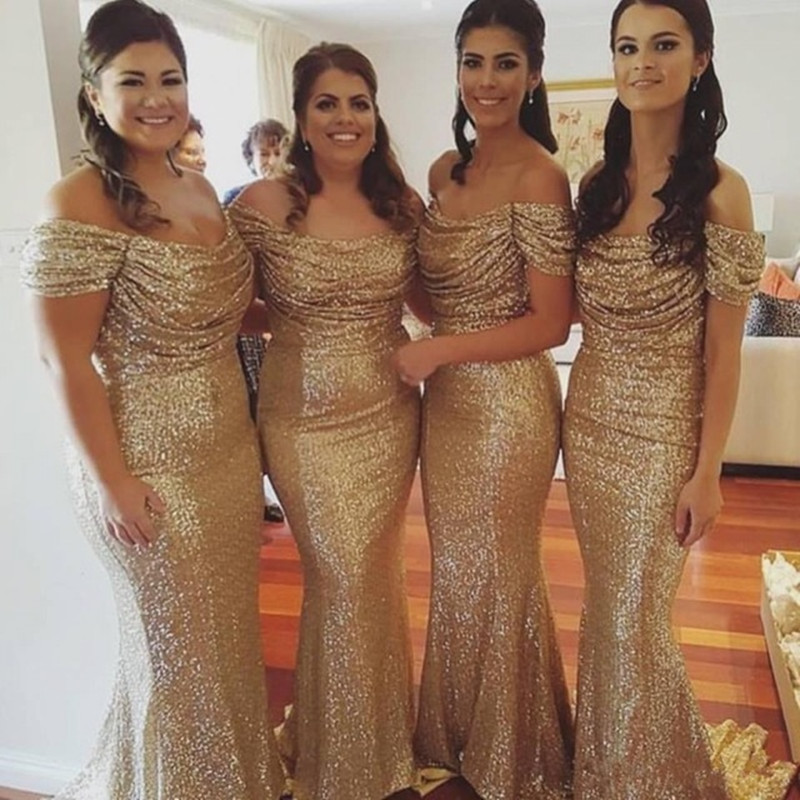 Gold Sequin Bridesmaid Dresses Sparkly Boat Neck Off the Shoulder Wedding Party Gowns Sexy Long Sheath Bridesmaid Dress 2016