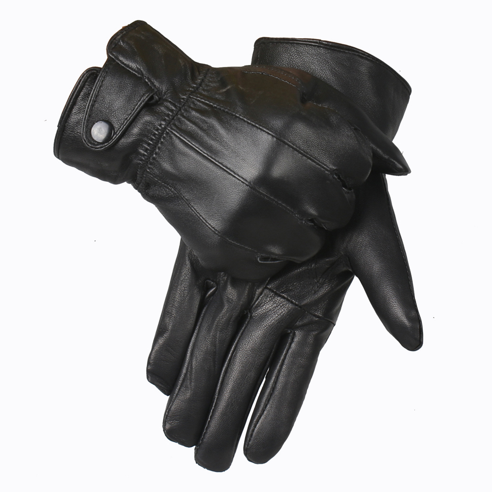 YCFUR Genuine Leather Gloves Men Winter Glove High Quality Real Sheep Leather Mittens Men Genuine Sheepskin Gloves Winter