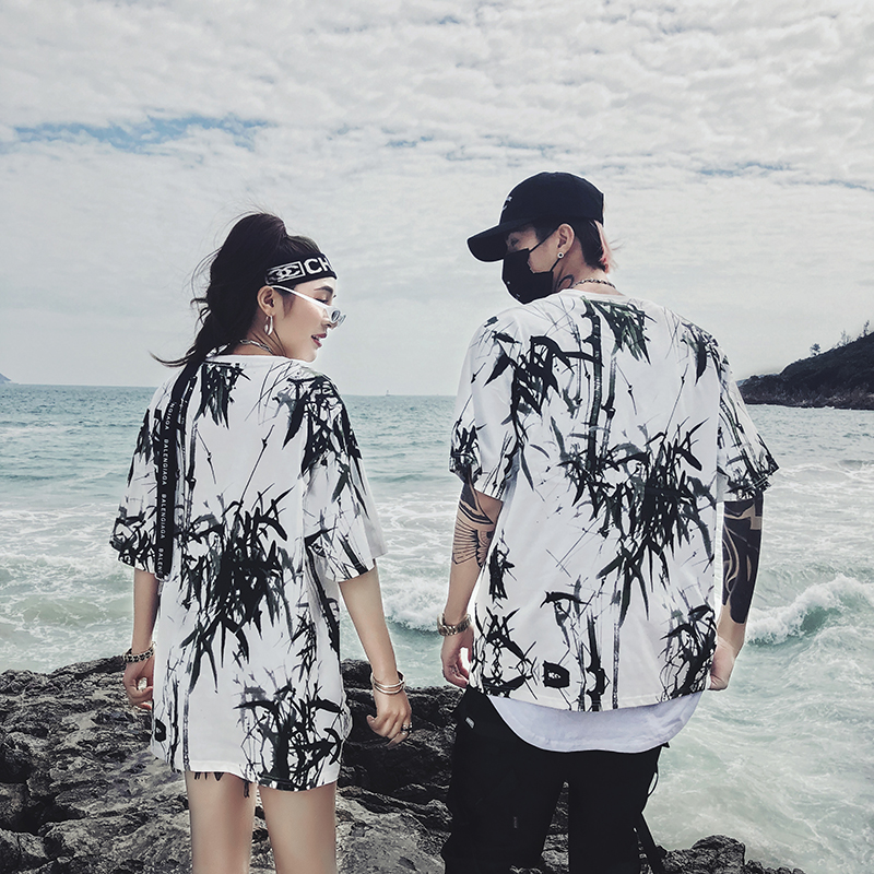 Dropshipping 2019 summer new bamboo splash ink Chinese painting short-sleeved shirt hip-hop oversized couple men women T-shirt 24
