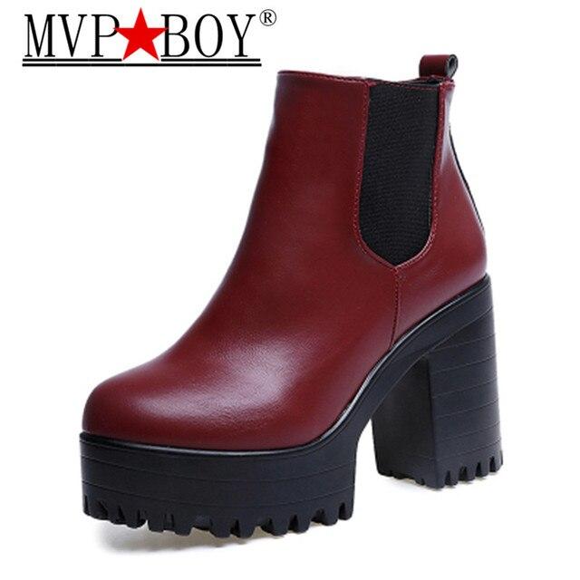 Mvp Çocuk Botas Mujer Moda Kadın Çizmeler Kare Topuk Platformları Zapatos Mujer PU Deri Uyluk Yüksek Pompa Botları Motosiklet Ayakkabıları