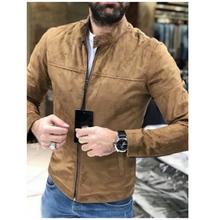 Nowy przybył stylowa kurtka mężczyźni płaszcz Streetwear męska kurtka z długim rękawem mężczyźni płaszcz znosić stałe kurtka stanąć kołnierz ubrania tanie tanio Kurtki płaszcze Poliester Bawełna Regularne Ulica High Street Stojak Konwencjonalne Zamek Standardowych Brak Szczupła