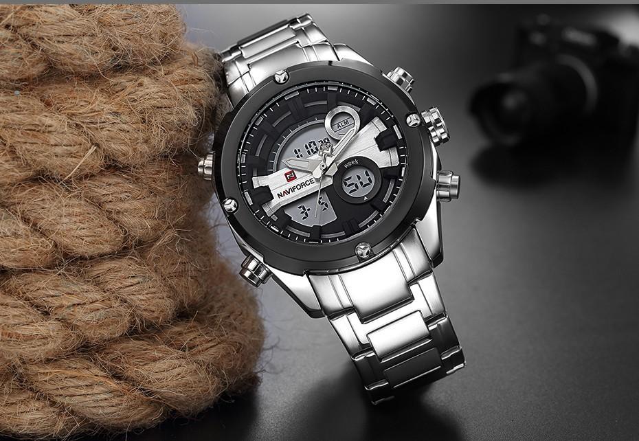 Top Luxury Brand NAVIFORCE Men Full Steel Sport Watches Men's Quartz Analog LED Clock Man Military Wrist Watch Relogio Masculino 11