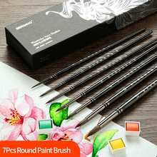 7Pcs New Animal's Hair Watercolor Brush Set Round Gouache Pinceles Hook Line Painting Brush With Gift Box Pintura Art Supplies montmarte 15pcs set bristle hair oil paint brush acrylic paint brush gouache pincel para pintura pen art supplies pinceles oleo
