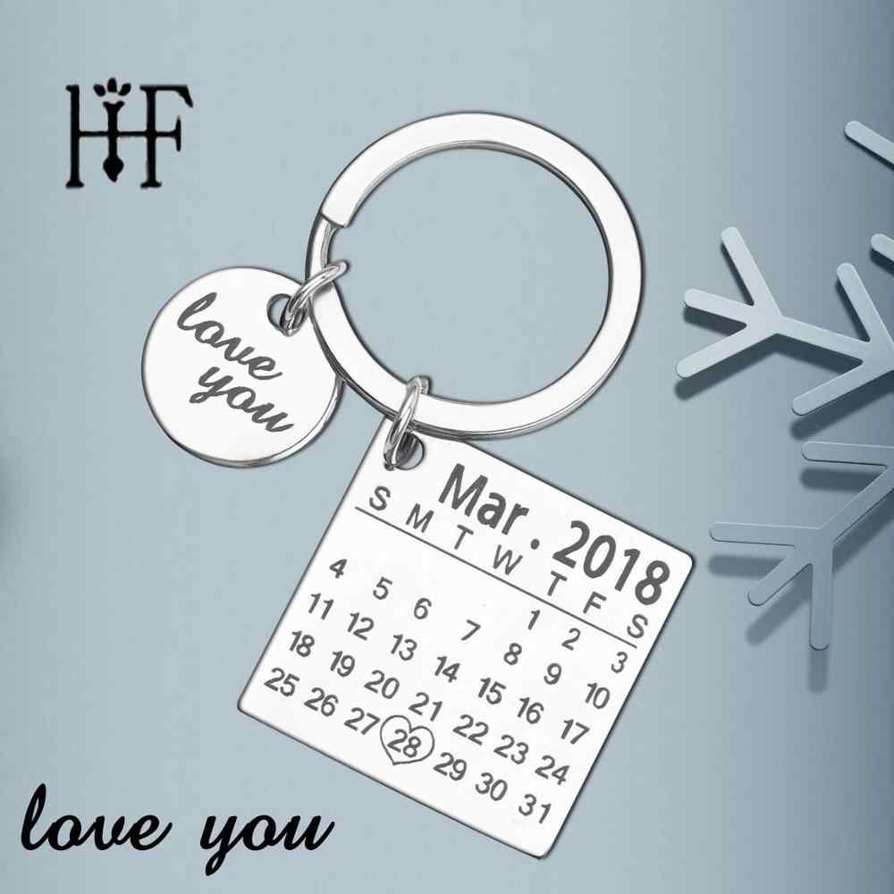 Fathers Day распродажа личный календарь брелок для ключей, брелок на заказ Для мужчин Юбилей творческий ручная Llaveros подарок для свадьбы дня рождения