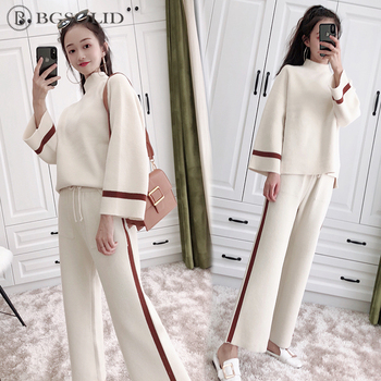 Double-sided cashmere women 2018 Korean version fashion knitted two-pieces of temperament cashmere broad legged trousers suit Брюки