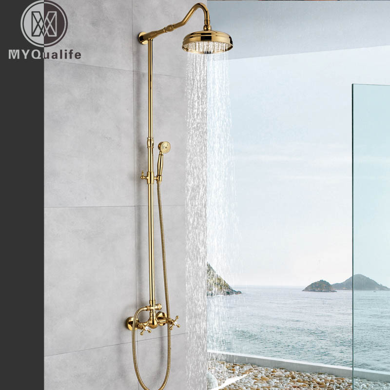 цена на Golden Bath Shower System 8 Inch Rainfall Shower Faucet Brass Handheld Shower Dual Handle in wall Bathroom Mixer Tap
