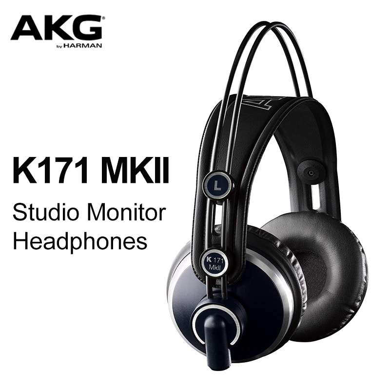 AKG Pro Audio K171 MKII Channel Studio Headphones Professional Studio Monitor Headphone High Efficiency Wide and Dynamic Range oneodio professional studio headphones dj stereo headphones studio monitor gaming headset 3 5mm 6 3mm cable for xiaomi phones pc