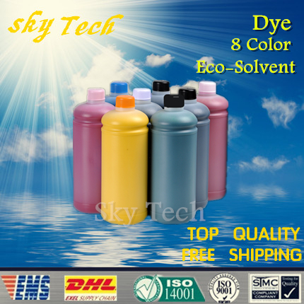 1000ML*8 Dye Eco Solvent Ink suit for Epson R1900 printhead Printer , PBK MBK C M Y OR RED GO For Wood metal ceramic PVC etc