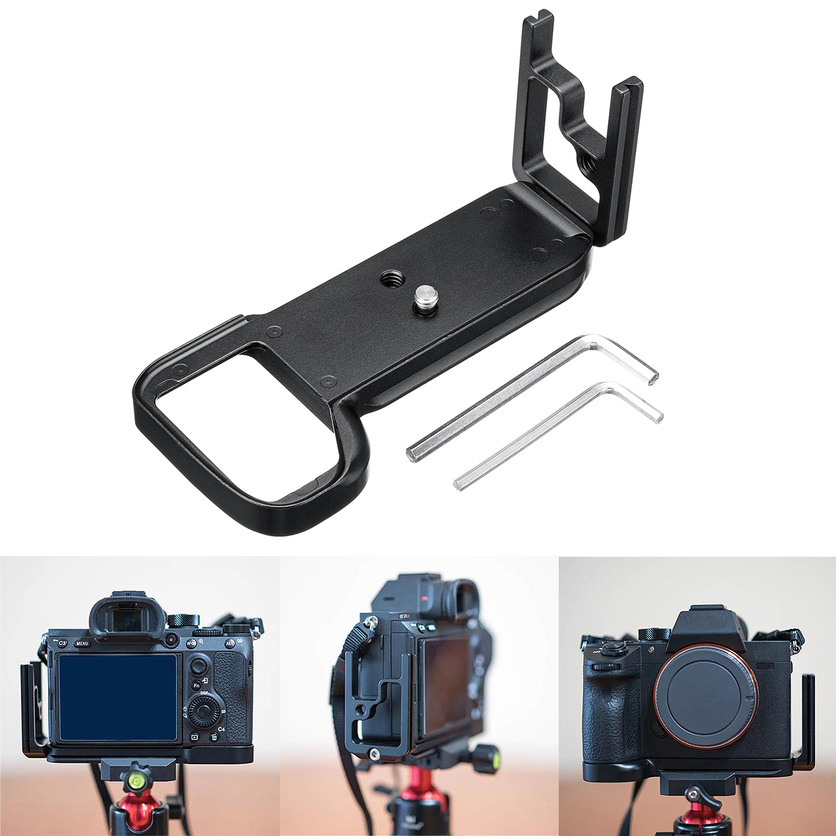 Quick Release L Plate Bracket with Hand Grip for Sony A7RIII ILCE-7RM3 ARCA Swis Black Tripod Monopods Holder Aluminium Alloy