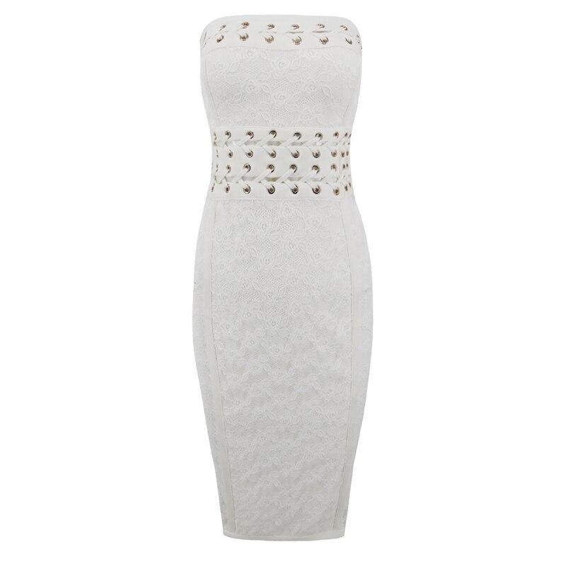 Dalla Vestito Donna Sera Fuori Off Spalline Partito Sexy Bodycon Celebrity Bianco Senza Spalla Fasciatura Vestiti 2018 Scava Di Pizzo Maniche wz8CqF