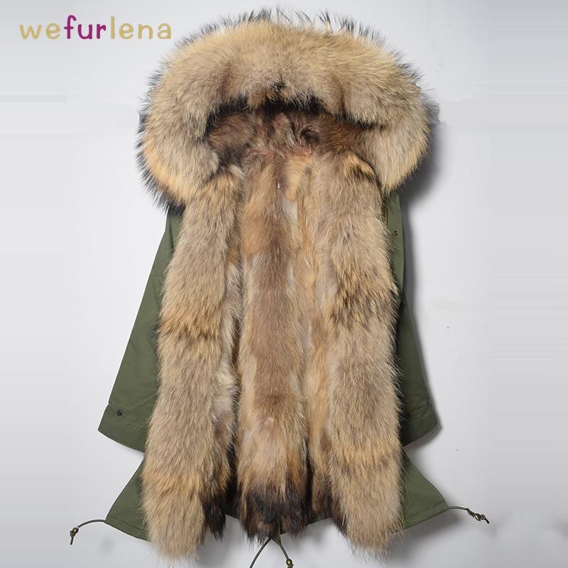 Femmes Naturel Raton Laveur Fourrure de Chien Veste Parkas D'hiver Chaud Épais Véritable Fourrure Manteau Long Femmes Gilet Femelle Moelleux Parkas Manteaux
