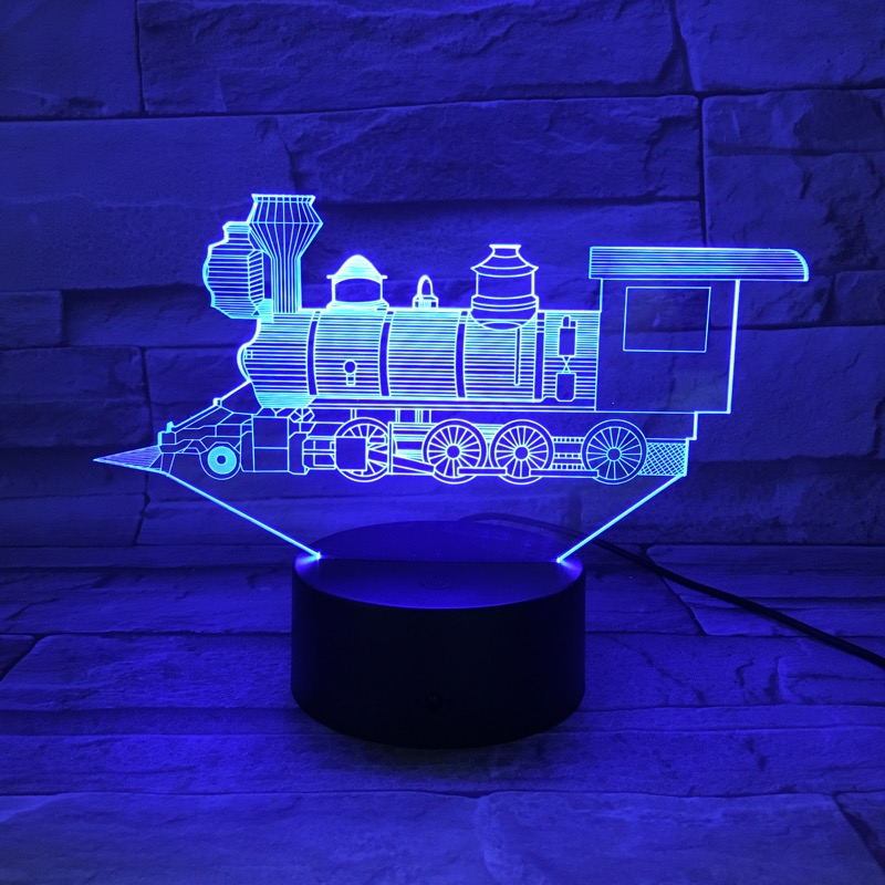 3D Lamp Night Light LED Bulb Steam Train Locomotive Multi-color Lighting Flash Fade Holiday Gifts For Kids Friends RGB Luminaria