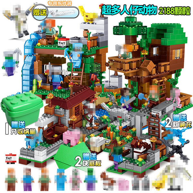 Creative 2188pcs My World Building Blocks Legoing Minecrafted Village Warhorse City Tree House Waterfall Educational Toys For Children Model Building Toys & Hobbies