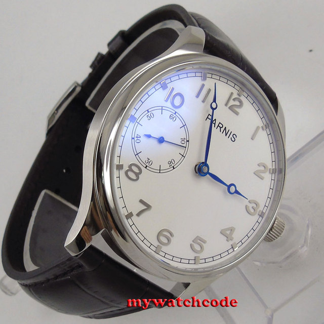 44mm parnis white dial silver marks hand winding 6497 movement mens watch P28B
