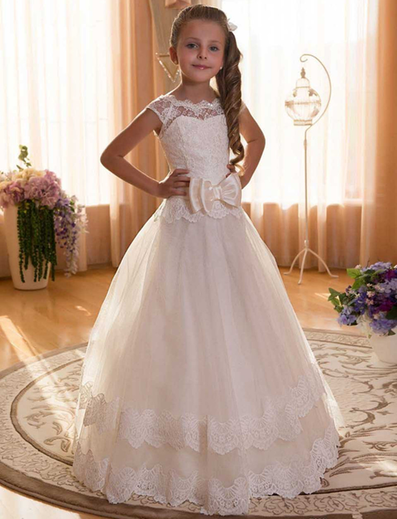 Girls Princess Pageant Bridesmaid Wedding Flower Girl Dress Lace A-Line O-Neck Bow Tulle White Ivory Custom Made 2017