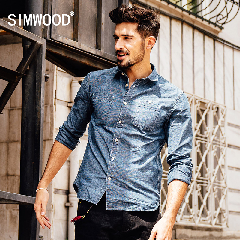 SIMWOOD 2017 new autumn men's causal shirts fashion camisa masculinamen long sleeve cotton brand clothing CS1538